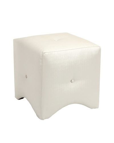 Isla White Metallic Tufted Cube