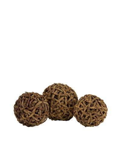 Set of 3 Rodem Rattan Wrapped Balls