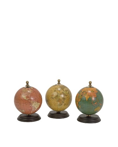 Set of 3 Antique Finish Mini Globes