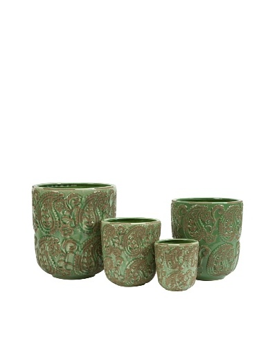 Set of 4 Paisley Planters
