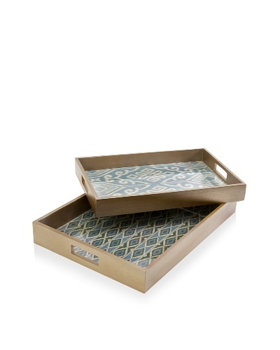 Set of 2 Geneva Trays, Natural/Blue