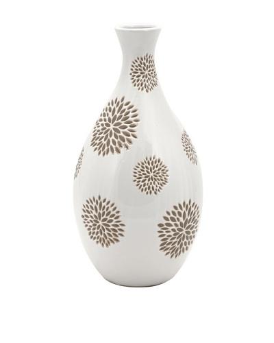 Essentials Vase with Flower Pattern, White/Taupe