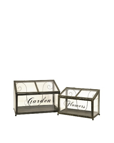 Set of 2 Tavaris Metal Greenhouses