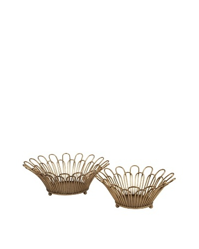 Set of 2 Verine Gold Leaf Trays