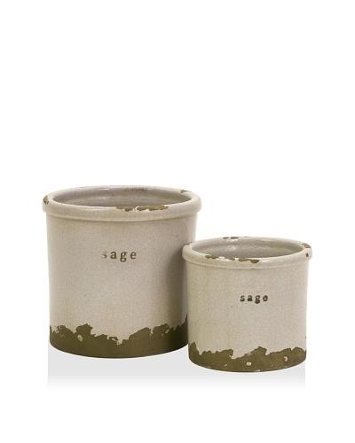 Set of 2 Sage Herb Pots