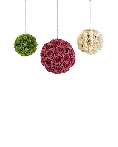 Set of 3 Florence Rose Decorative Hanging Orbs