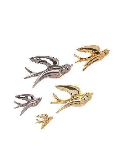 Set of 5 Nightingale Ceramic Wall Birds