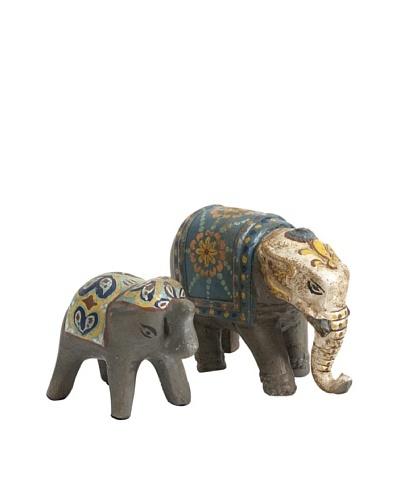 Set of 2 Haani Hand Painted Elephant Figurines