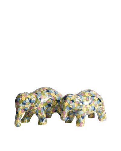 Set of 2 Gervaiso Hand Painted Elephant Figurines