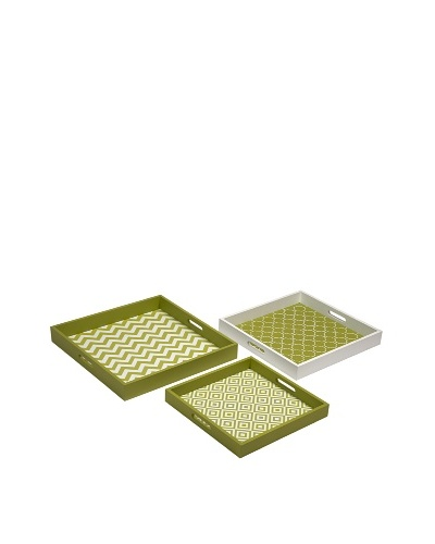 Set of 2 Essentials Graphic Trays, Green
