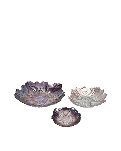 Set of 3 Midnight Garden Glass Bowls