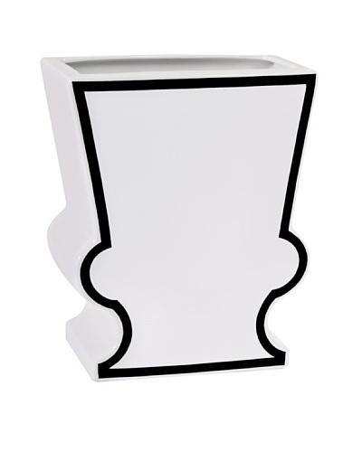 Imax Maqueen Wide Ceramic Vase, White/Black