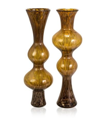 Set of 2 Marcellus Glass Mirroring Vases
