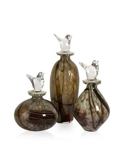 Set of 3 Dabney Glass Bird Stopper Bottles