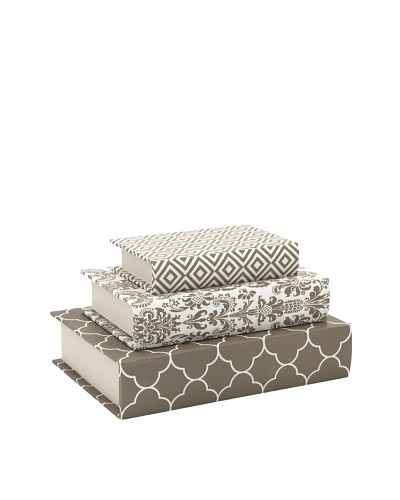 Essentials Set of 3 Canvas Book Boxes, Taupe
