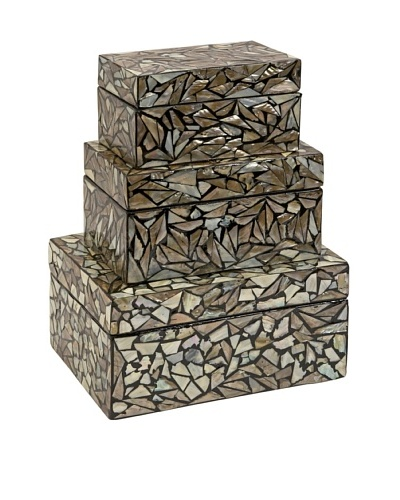 Set of 3 Neal Mother-of-Pearl Boxes, Black/Natural