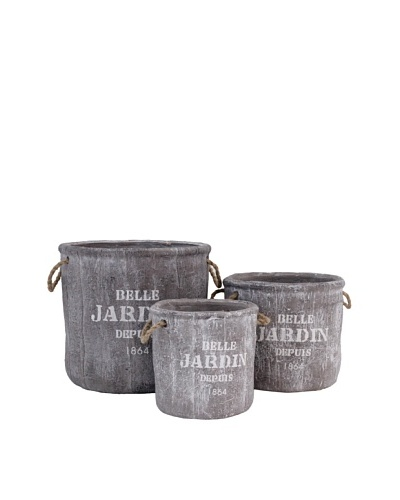 The Import Collection Set of 3 Decorative Planters, Taupe