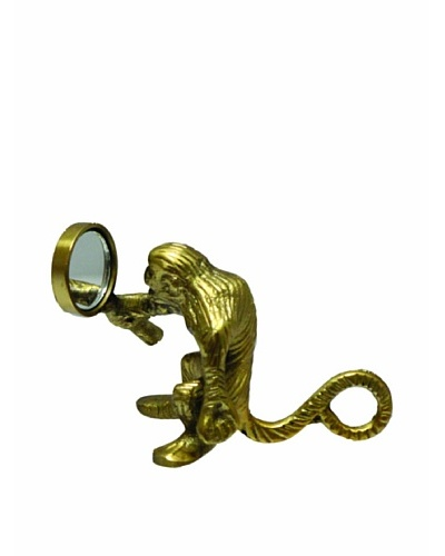 The Import Collection Metal Monkey with Mirror Figurine, Gold