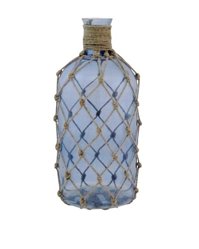 The Import Collection Kofi Rope-Entwined Glass Bottle, Light Blue