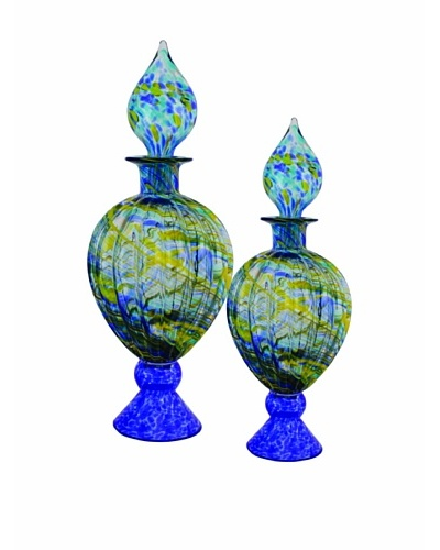 The Import Collection Set of 2 Splace Glass Urns, Blue