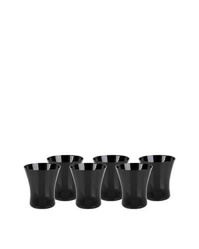 Impulse! Set of 6 Graffiti Tumbler Glasses, Black