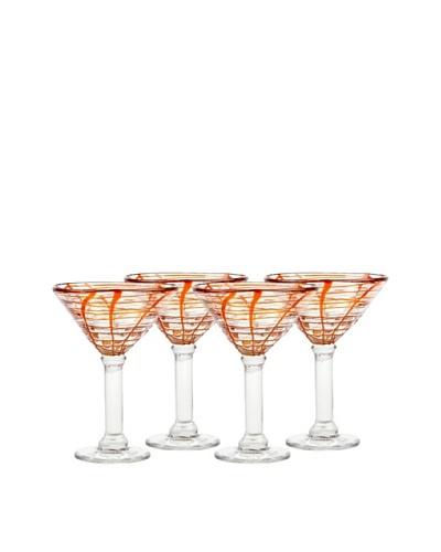 Impulse! Set of 4 Abstract Martini Glasses, Orange