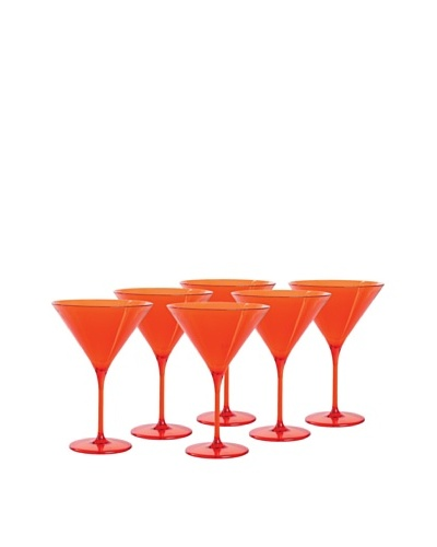 Impulse! Set of 6 Capri Martini Glasses, Orange