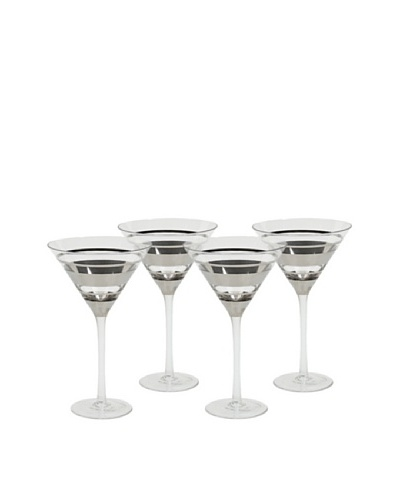 Impulse! Set of 4 Chelsea Martini Glasses, Clear/Silver