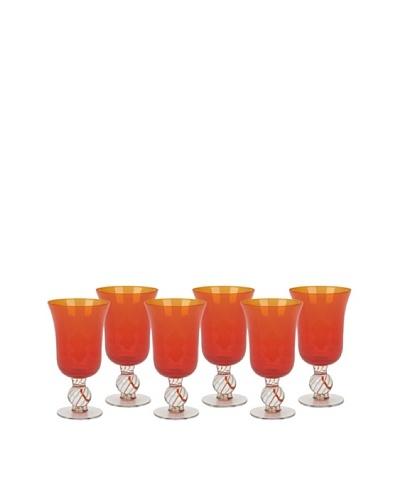 Impulse! Set of 6 Portofino Water Goblets, Orange