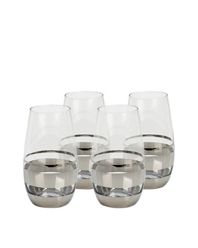 Impulse! Set of 4 Chelsea Highball Glasses, Clear/Silver
