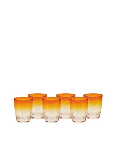 Impulse! Set of 6 Sunset Rocks Glasses, Orange