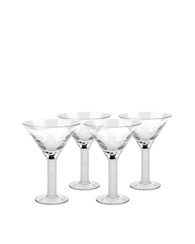 Impulse! Set of 4 Crackle Martini Hand-Crafted Glasses, Clear
