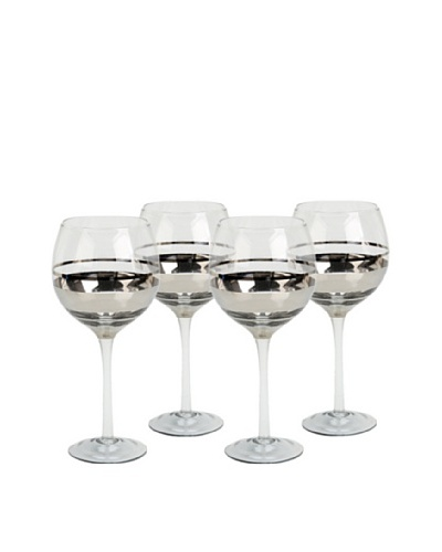 Impulse! Set of 4 Chelsea Goblets, Clear/Silver