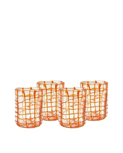 Impulse! Set of 4 Abstract Rocks Glasses, Orange