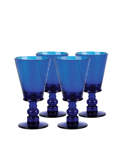 Roma Goblet Cobalt Glass, Set of 4