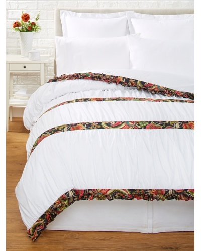 India Rose Kathryn Duvet Cover, White/Midnight, Queen