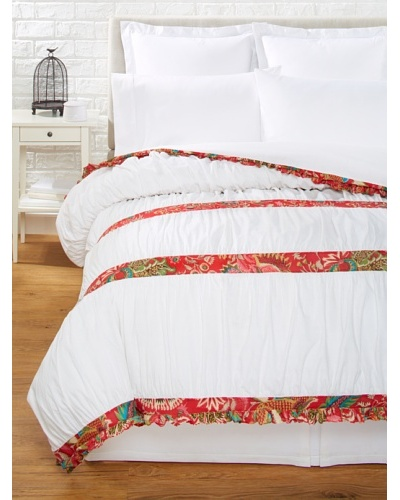 India Rose Kathryn Duvet Cover, White/Red, Queen