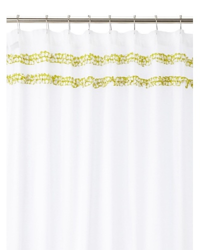 "India Rose Canggu Shower Curtain, White/Lime, 72"" x 72"""