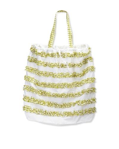 """India Rose Canggu Laundry Bag, White/Lime, 24"""" x 30"""""""