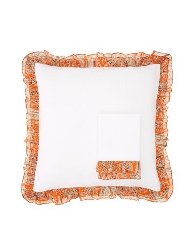 India Rose Set of 2 Kathryn Euro Shams, White/Orange