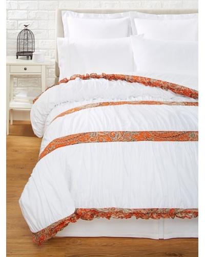India Rose Kathryn Duvet Cover, White/Orange, Queen