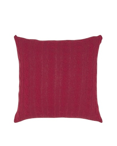 India's Heritage Cable Knit Pillow, Red, 20 x 20