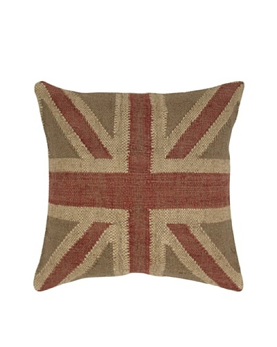 India's Heritage Union Jack Pillow, Beige, 20 x 20
