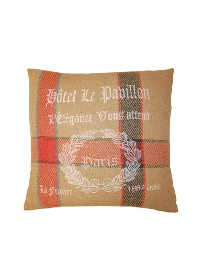 India's Heritage Red Beige Vintage Stripes Print Pillow, Red Beige