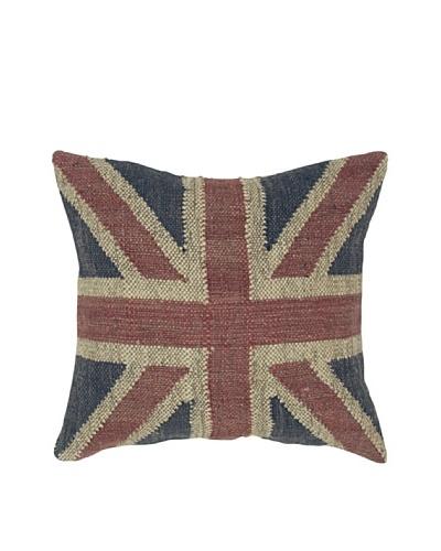India's Heritage Union Jack Pillow, Blue, 20 x 20