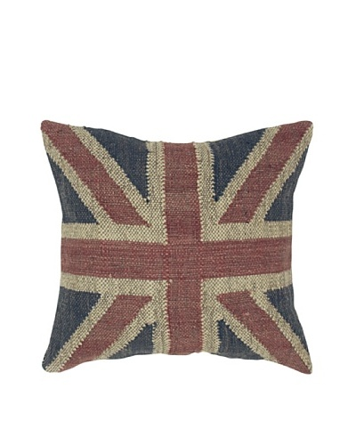 India's Heritage Union Jack Pillow, Blue, 24 x 24