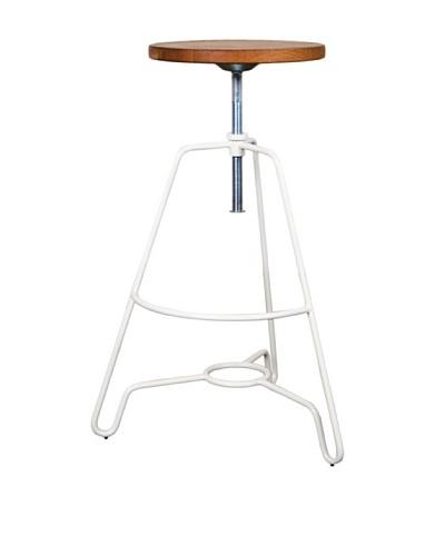 Industrial Chic Briggs Stool, White Steel Oiled