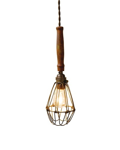 Industrial Chic Brass Wire Lighting Fixture, Sepele Hardwood