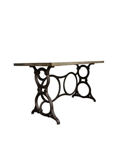 Industrial Chic Singer Dining Table, Zinc Metal