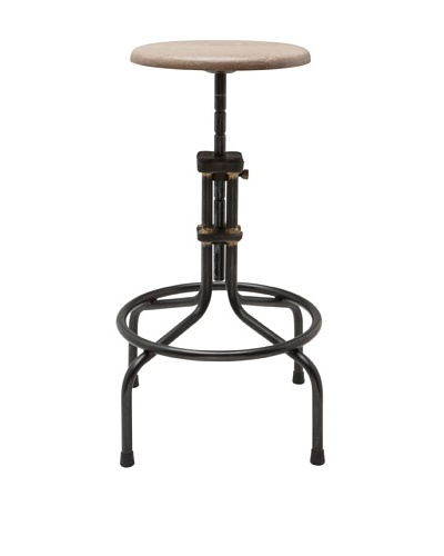 Industrial Chic Adjustable Stool, Weathered Oak